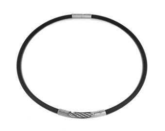 Black Rubber Necklace with Stainless Steel Cable See Through Center Element by Taormina Jewelry