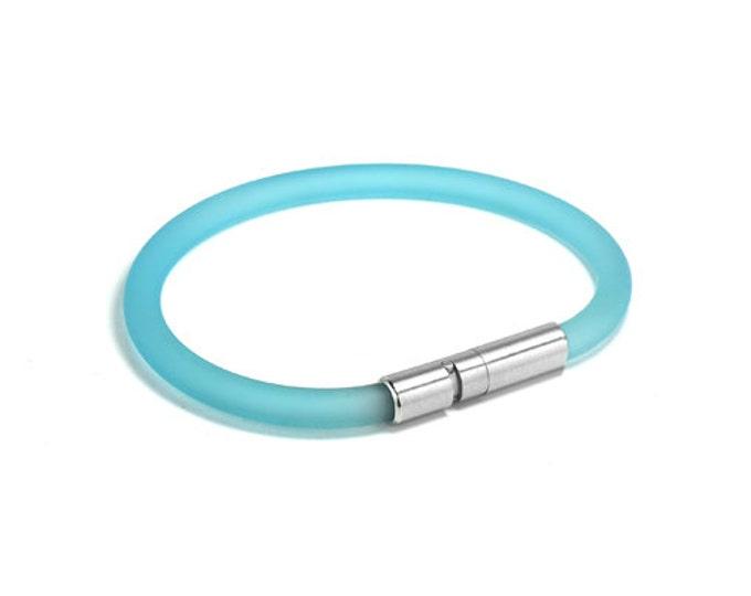 Light Blue Rubber Bracelet 5mm Rubber 6mm Clasp by Taormina Jewelry