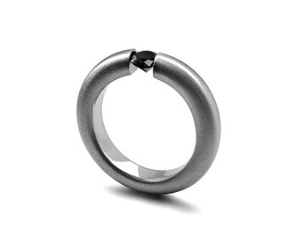 Black Diamond Tension Ring in Brushed Stainless Steel