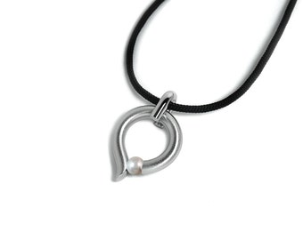 Tension Set White Pearl and Stainless Steel Pendant