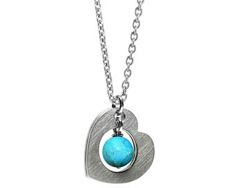 Open Heart Necklace Stainless Steel with Turquoise