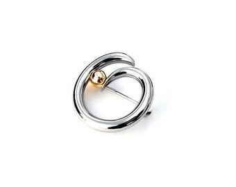 Brooch Stainless Steel and Gold Tension Set Two Tone