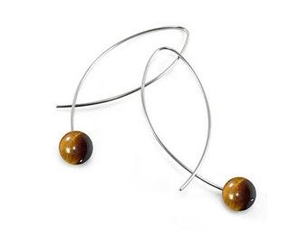 Black Tiger Eye Wire Earrings Design Stainless Steel
