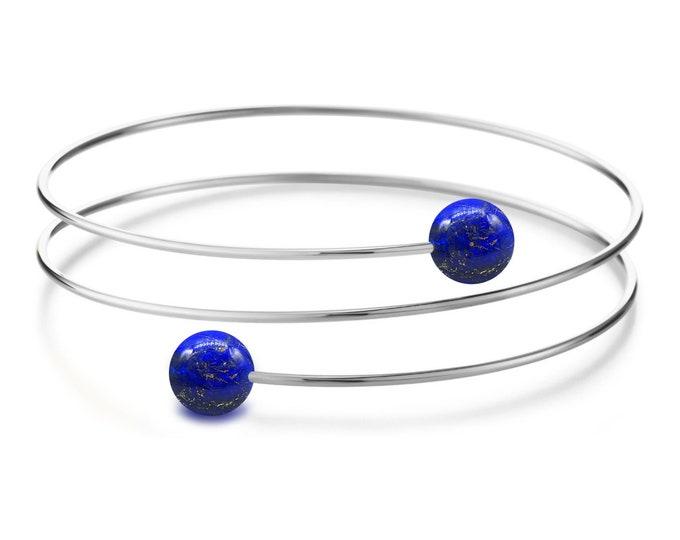 Lapis Lazuli triple wire bracelet in Stainless Steel Multi row by Taormina Jewelry