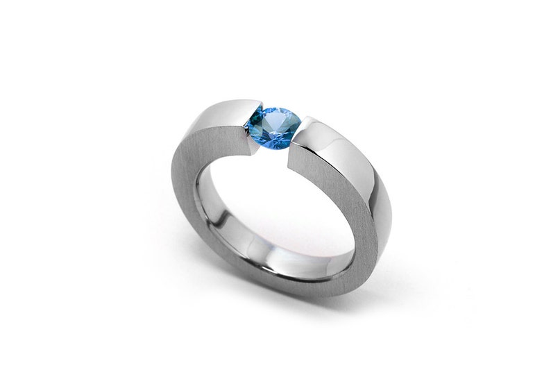 64c007d5ee650 Blue Topaz Mens Tension Set Ring in Stainless Steel