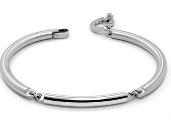 Tube Link Bangle Bracelet Two Tone Stainless Steel