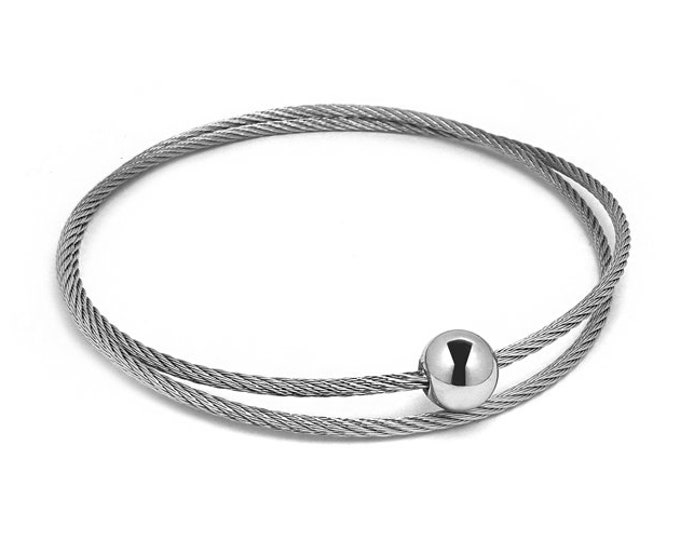 Double Row Stainless Steel Bangle Cable Wire Bracelet by Taormina Jewelry