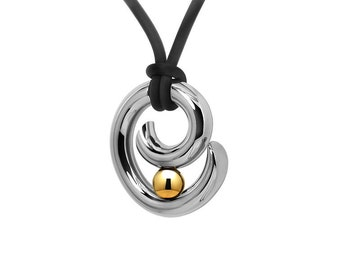 Gold and Stainless Steel Tension Set Pendant Two Tone Design