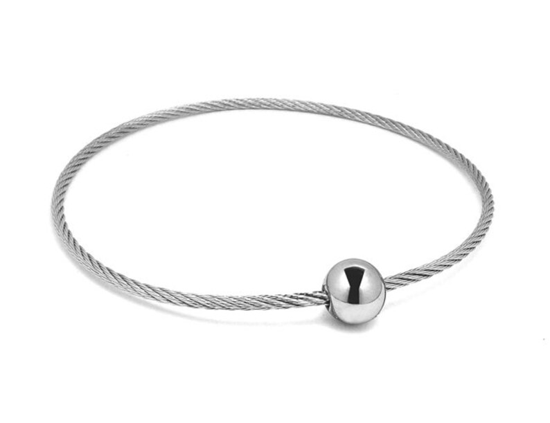 Single Row Stainless Steel Bangle Cable Wire Bracelet by Taormina Jewelry