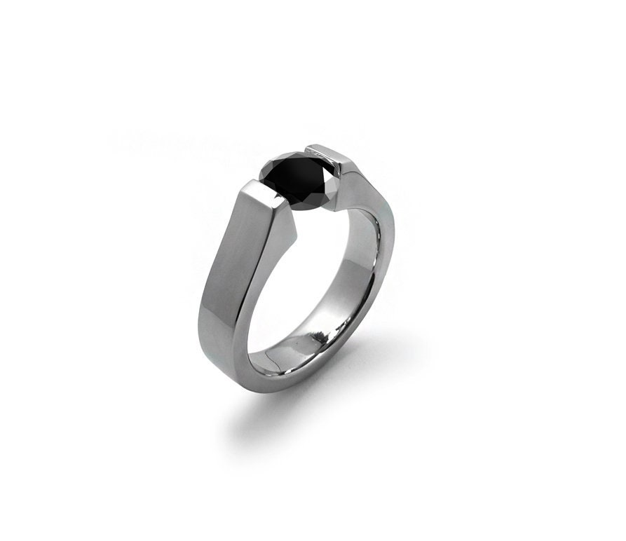 7f95db020 1.5 ct Black Onyx Tension Set Modern Ring Stainless Steel. 1