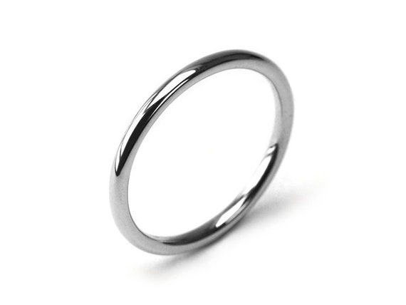Silver Stainless Steel Comfort Fit Plain Wedding Band Ring 2mm UK Size N 1//2