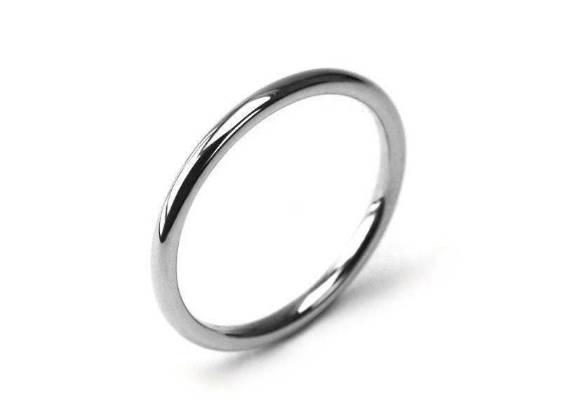Stainless Steel Satin Finished 2 Color Comfort Fit Wedding Flat Band Ring
