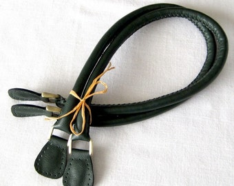 Genuine Leather Bag Handles - Handmade in Forest Green.