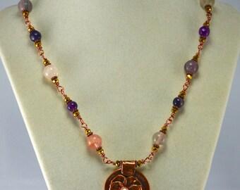 Flower Pendant, Copper Pendant, Pansy Flower, Flourite