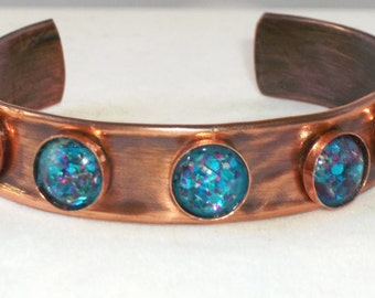 Cuff with Bling! Sparkling Blue glass cabochons.