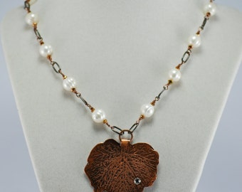 Fresh Water Pearl Necklace with Hand Etched Copper Leaf