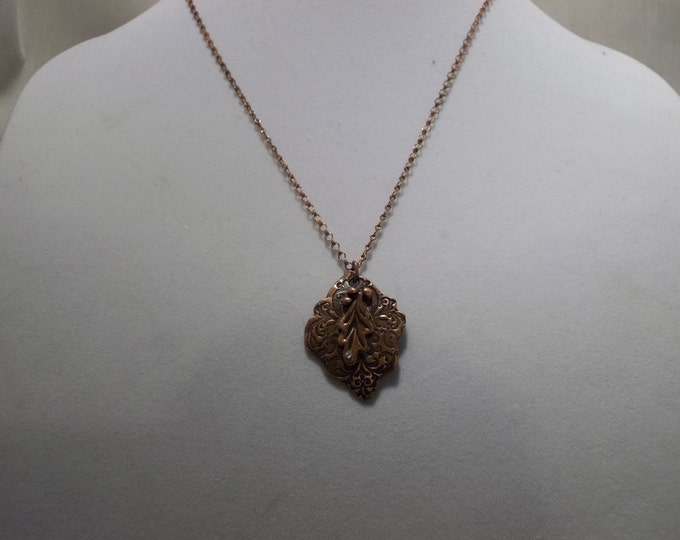 Hand Made Leaf Pendant, Copper and Crystal Dew Drop