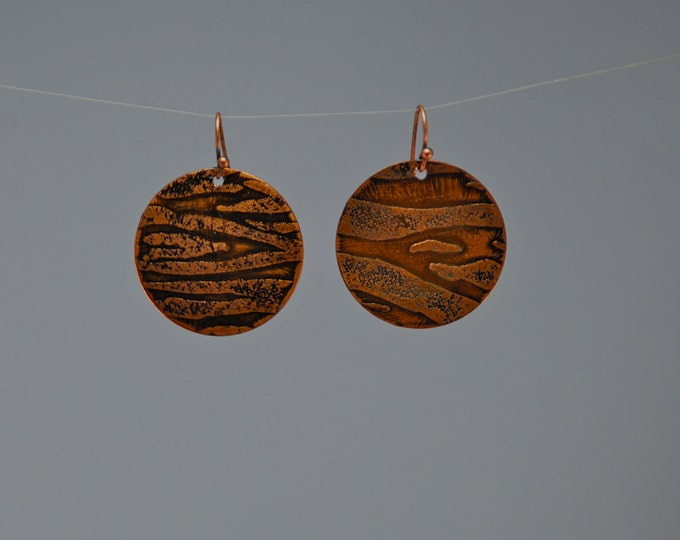 Tiger Striped Earrings - Asymmetrical, Hand Etched Copper