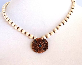 Freshwater Pearls Necklace with and Copper Pendant