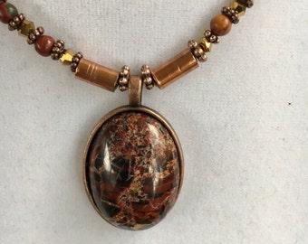 Beaded pendant, jasper cabochon with Picasso jasper necklace