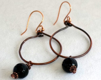 Hoop Earrings, copper and Black Onyx stones