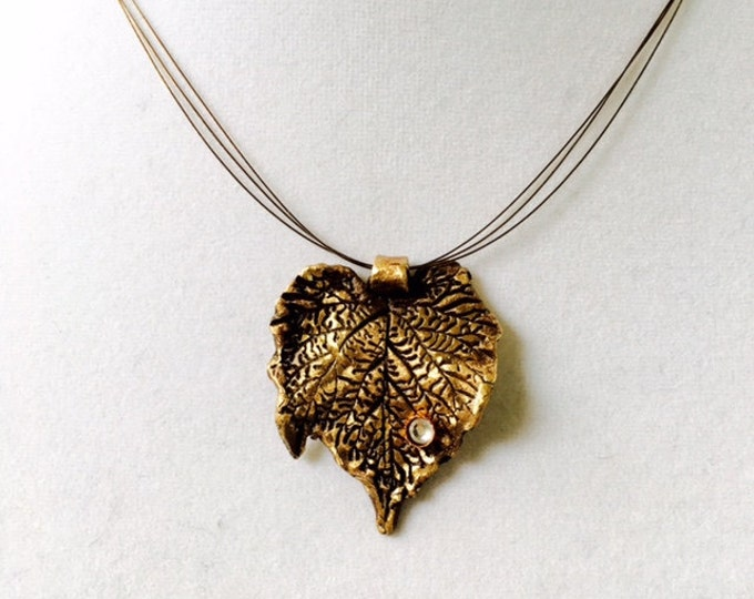 "Bronze Leaf Pendant, Handmade with Swarovski Crystal ""Dew Drop"""