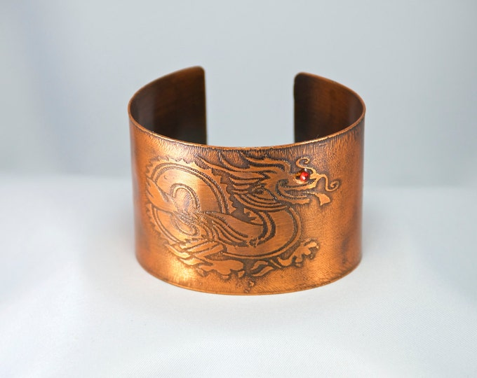 Cuff, Wide Cuff with Dragon, Fantasy Dragon, Etched Copper