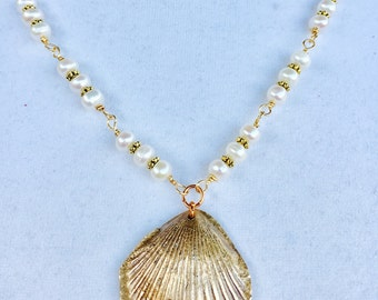 Bronze SeaShell with freshwater Pearls