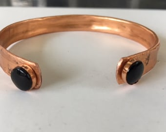 Cuff, copper with stones