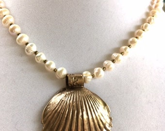 Clam Shell Necklace,Bronze,  Freshwater Pearls, Handmade
