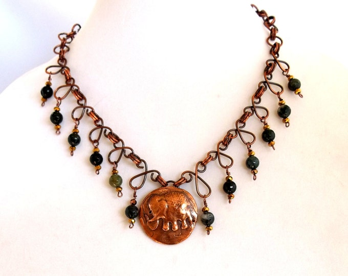 Boho Elephant Pendant with Agate