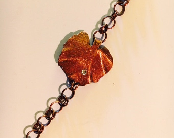 Leaf Bracelet, Etched Copper, Swarovski crystal dew drop