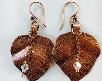 """Leaf Earrings with Crystal """"Dew Drop"""""""