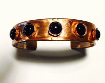 Narrow Cuff, Copper with Black Onyx
