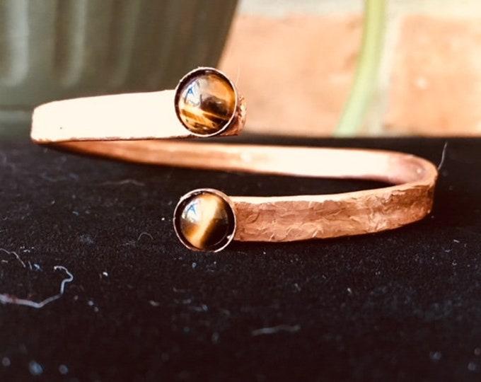 Copper Bangle Bracelet with Tiger Eye
