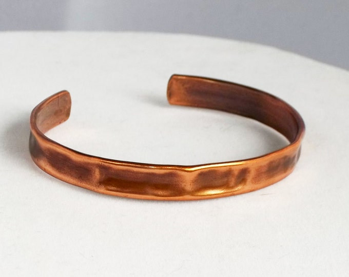 Narrow Cuff, Hammered Copper