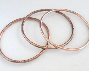 Bangles, Handmade copper, Set of Three