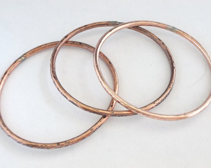Bangles, Handmade copper, Set of Three