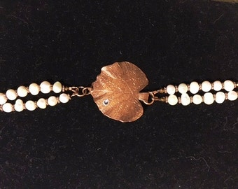 Etched Leaf Bracelet with Freshwater Pearls, Etched Copper