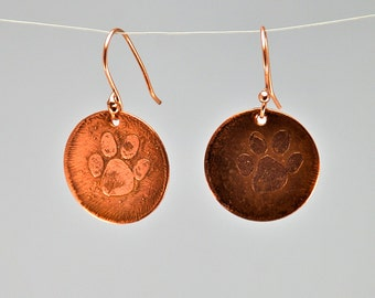 Paw Print Dangle Earrings, Hand Etched