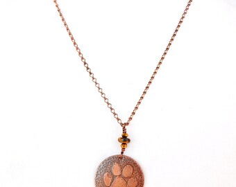 Pet Paws Pendant, Etched Copper