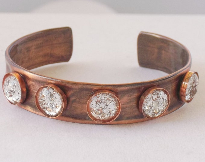Cuff with Bling! Sparkling glass cabochons.