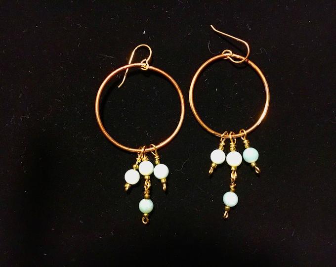 Earrings,Freshwater Pearl Hoop