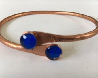 Bangle, Copper with Bright Blue