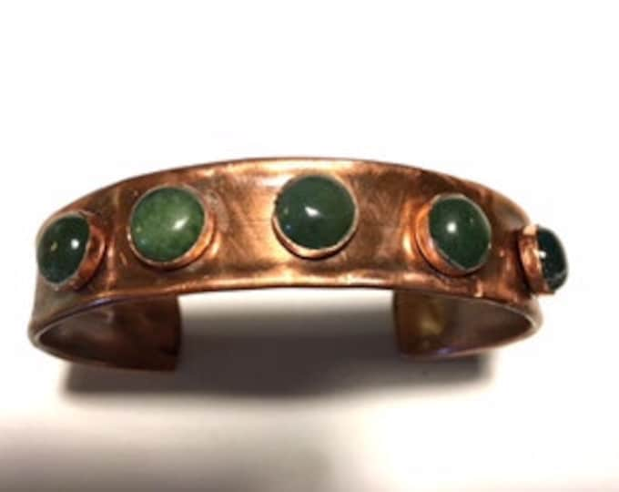 Narrow Cuff, Copper with Indian Agate
