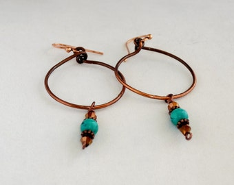 Hoop Earrings with Turquoise colored stones, Copper