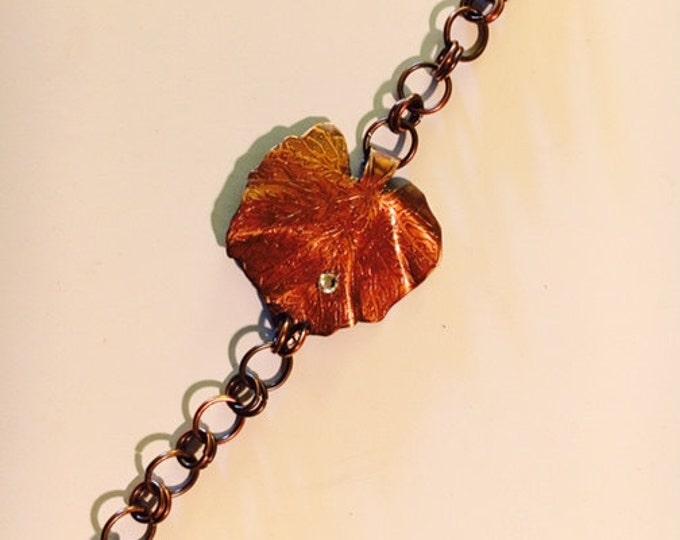 Leaf Bracelet, Etched Copper, Swarovski crystal dew drop