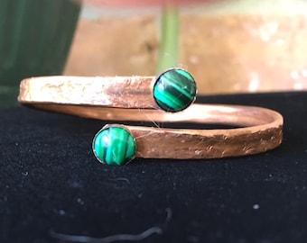 Copper Bangle Bracelet with Malachite