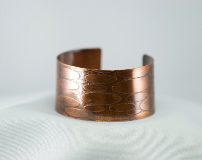 Wide Cuff  with Hand Etched Ovals, Copper, Hand Etched