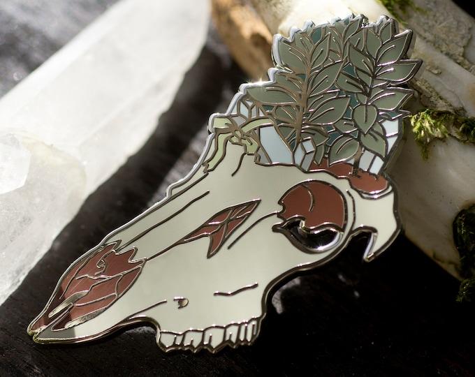 Green Witch Skull Garden Enamel Pin